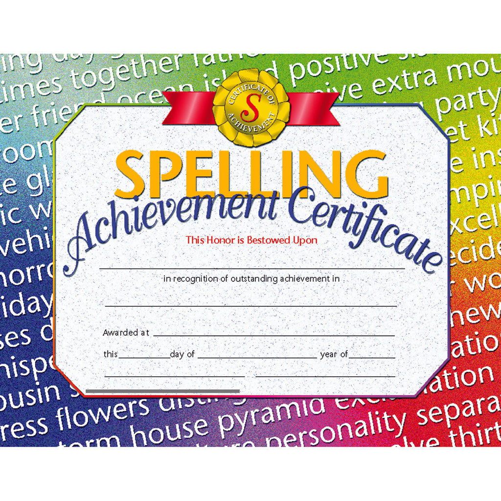 Hayes School Publishing Spelling Achievement Certificates