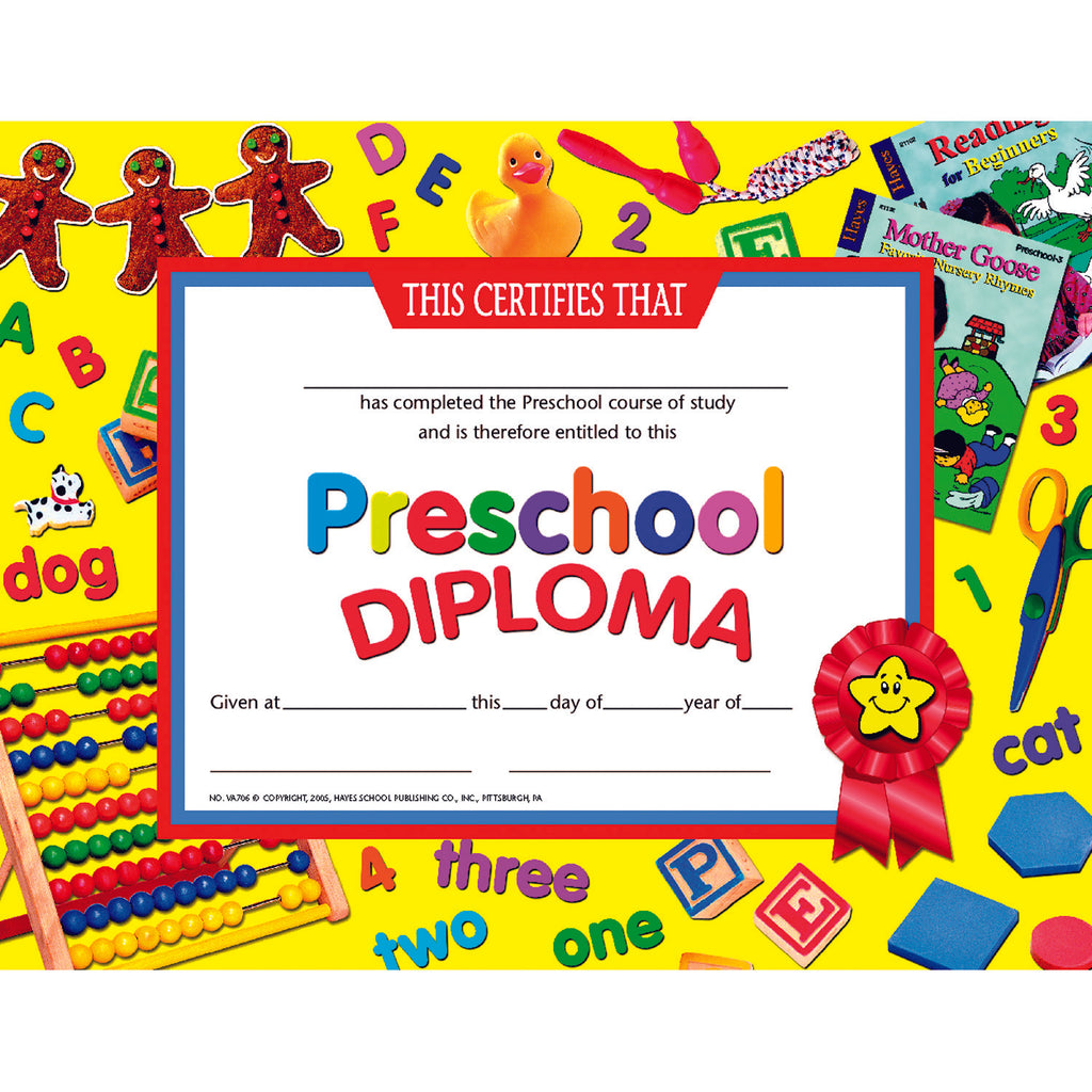 Hayes School Publishing Preschool Diploma 3