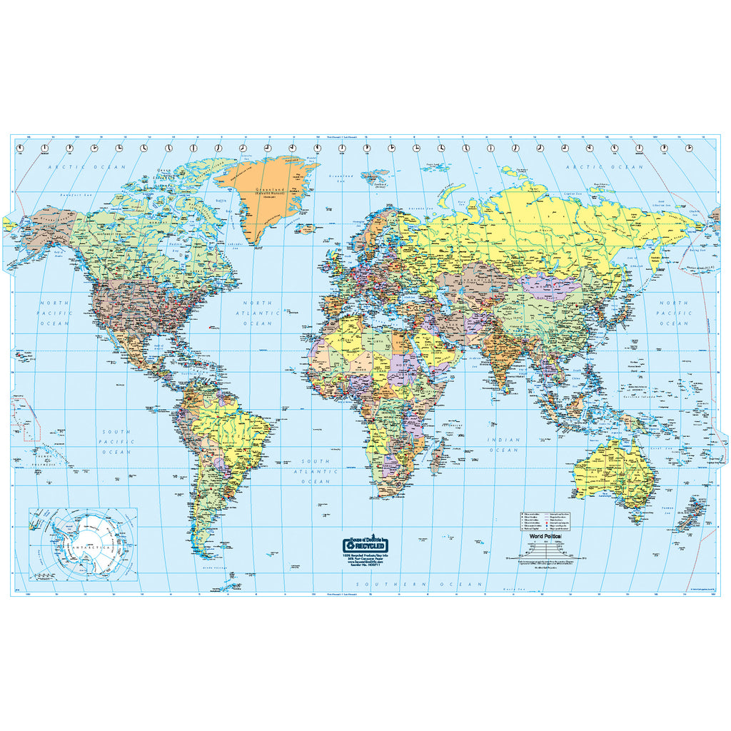 House Of Doolittle U.S. & World Maps: Laminated World Map 38 x 25