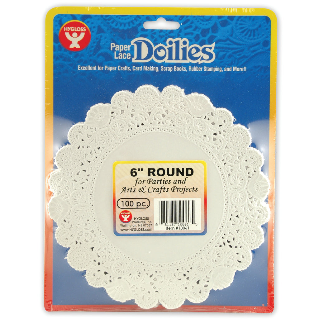 "Hygloss Products Round Paper Lace Doilies, 6"" White"