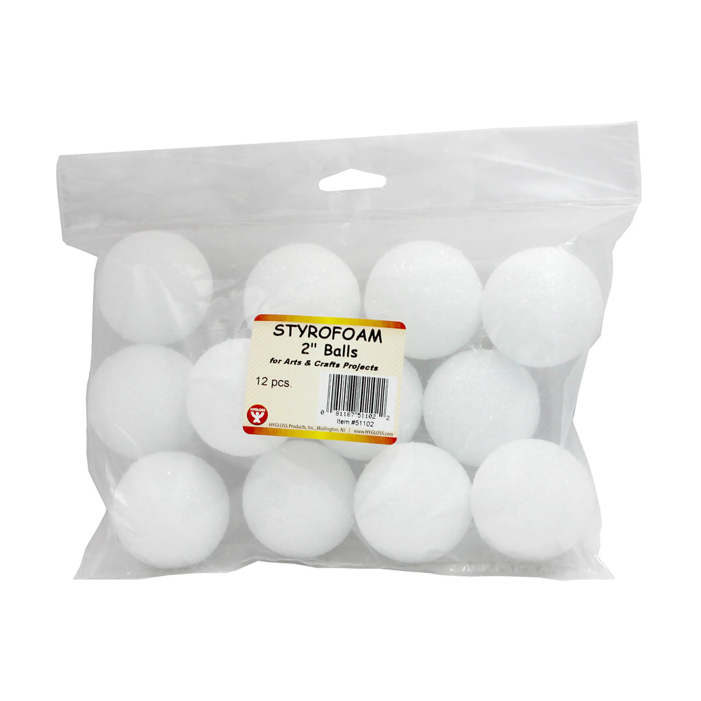 Hygloss Products Styrofoam Balls, 12 Pack 2""
