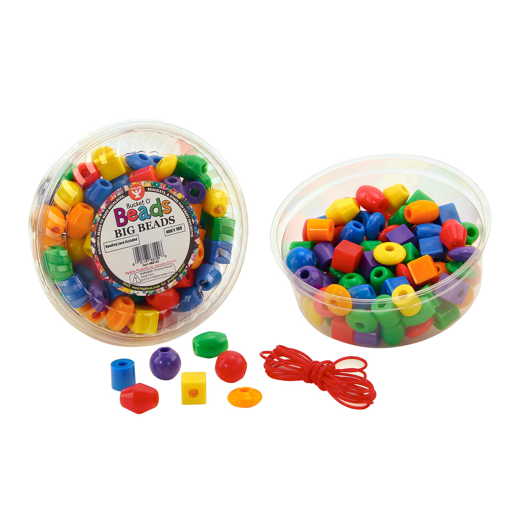 Hygloss Products Big Beads, Assorted Shapes & Colors
