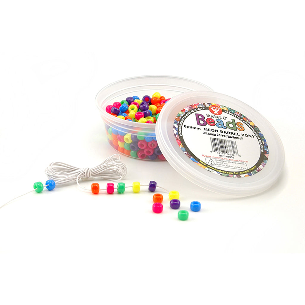 Hygloss Products Bucket O` Beads, 375 Neon Barrel