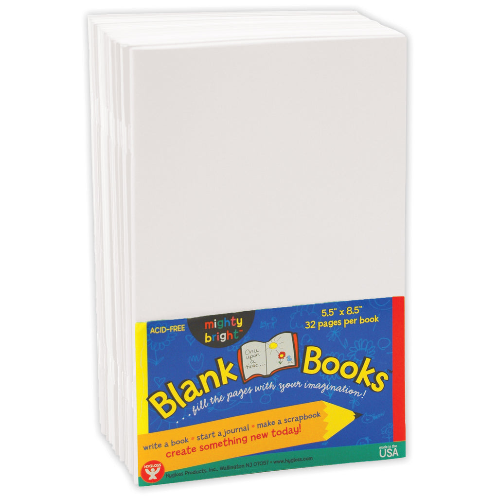 Hygloss Products White Softcover Blank Books, Set of 10