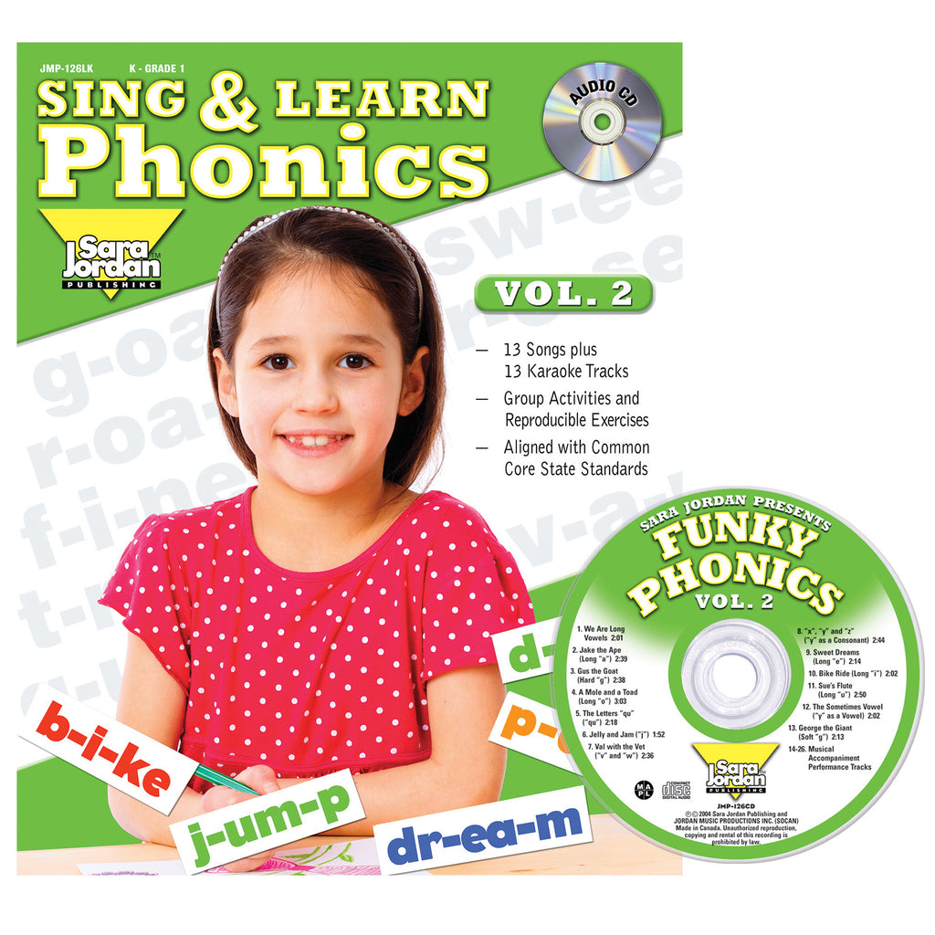 Sara Jordan Publishing Sing & Learn Phonics, Vol. 2, Book with Audio CD
