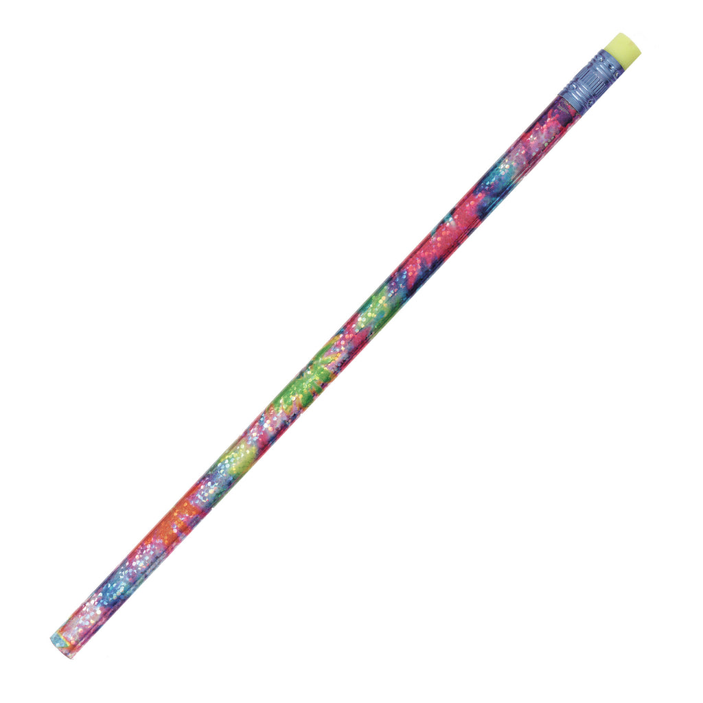 J.R. Moon Pencil Company Decorated Pencils Tie Dye Glitz 1 Dozen Assorted