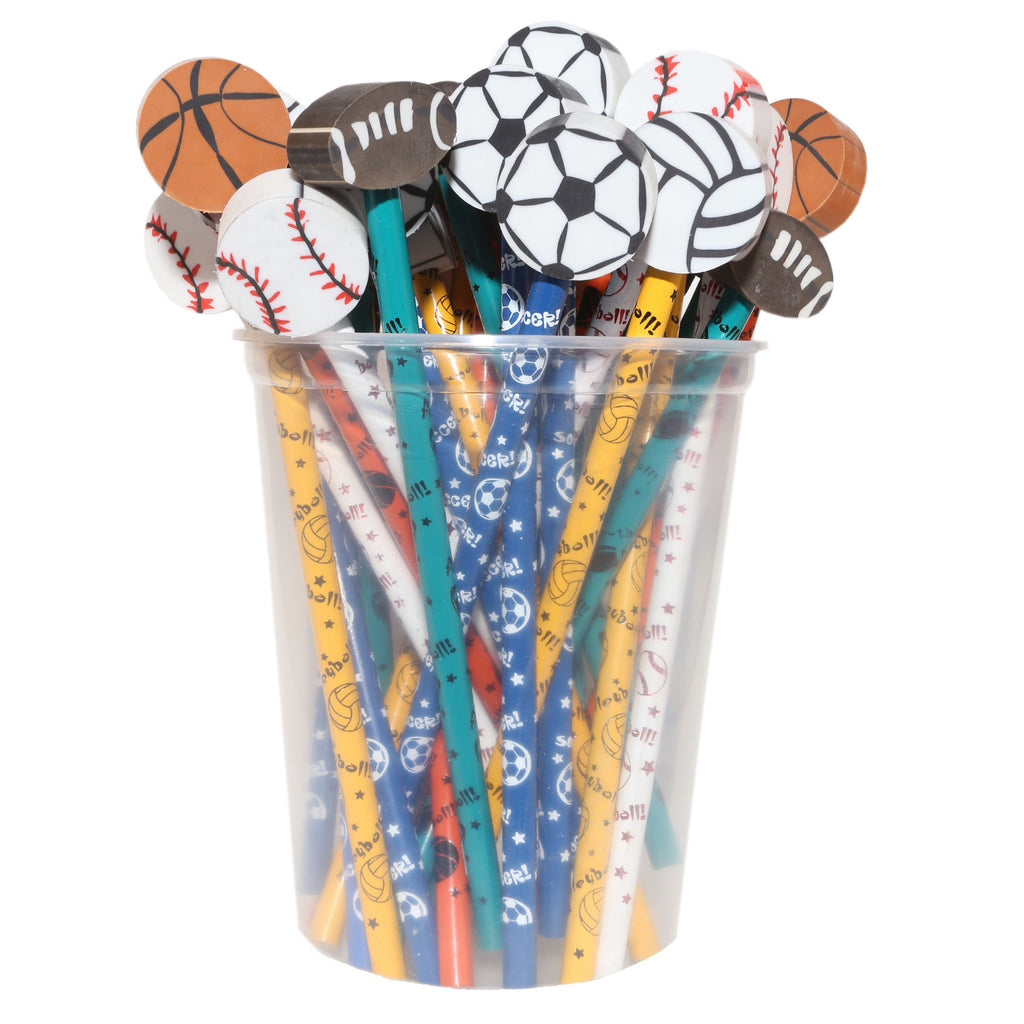J.R. Moon Pencil Company Pencil & Eraser Toppers, Sports - 36 Pack