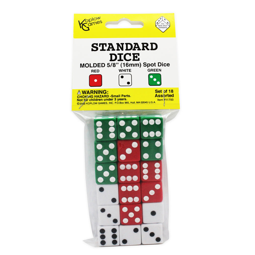 Koplow Games Dot Dice 6 Each Of Red White & Green