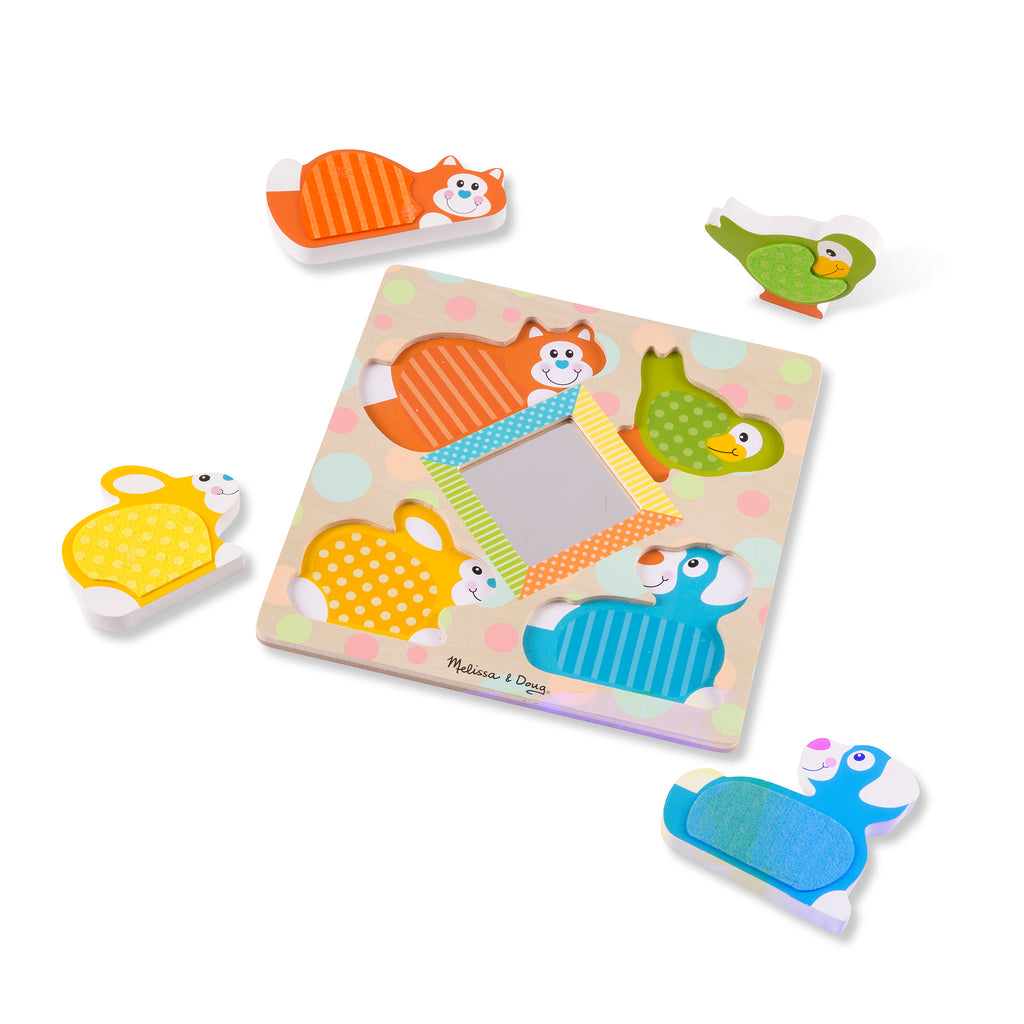 Melissa & Doug First Play Wooden Touch and Feel Puzzle: Peek-a-Boo Pets with Mirror