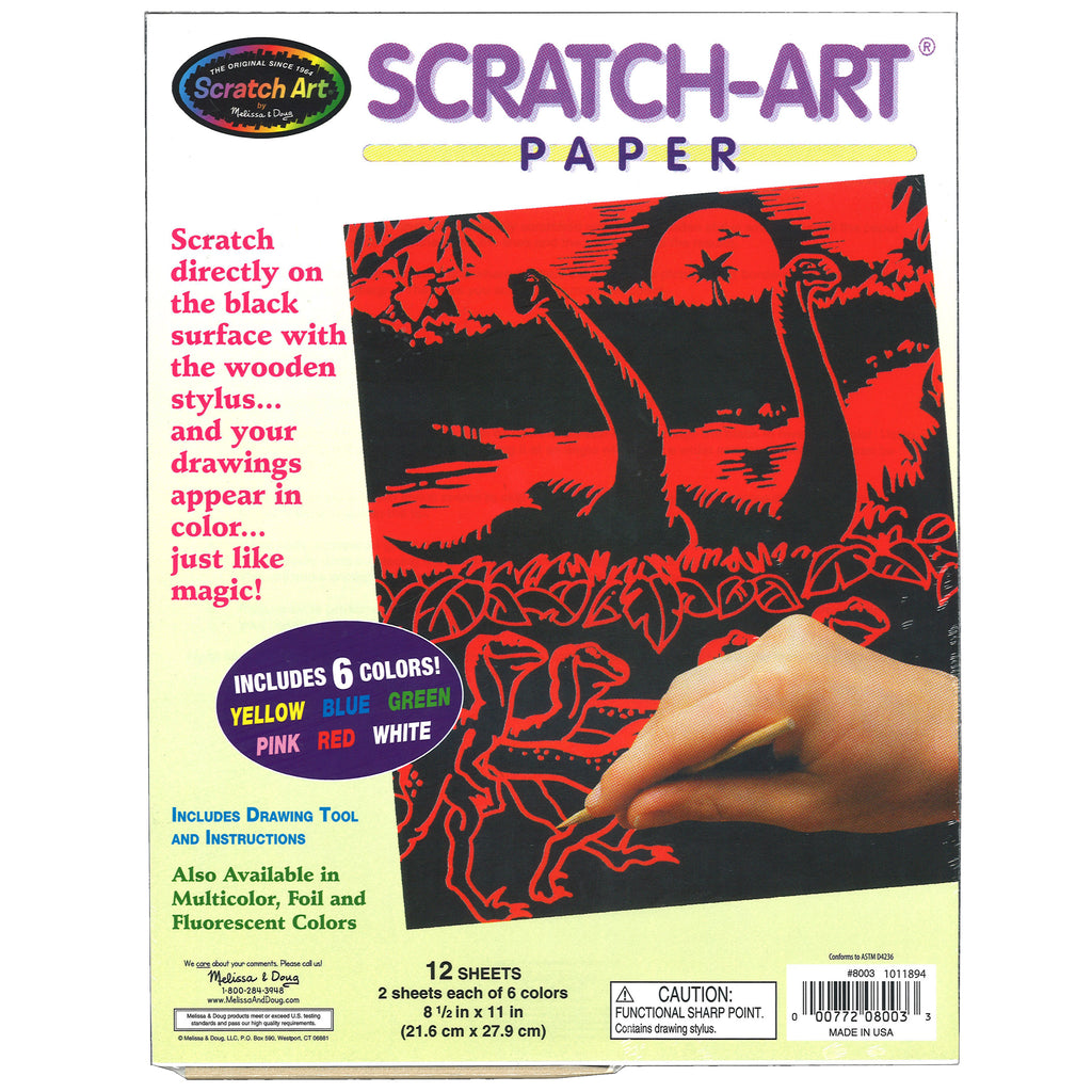 Melissa & Doug Scratch Art Paper Solid Color Assortment (12 sheets)