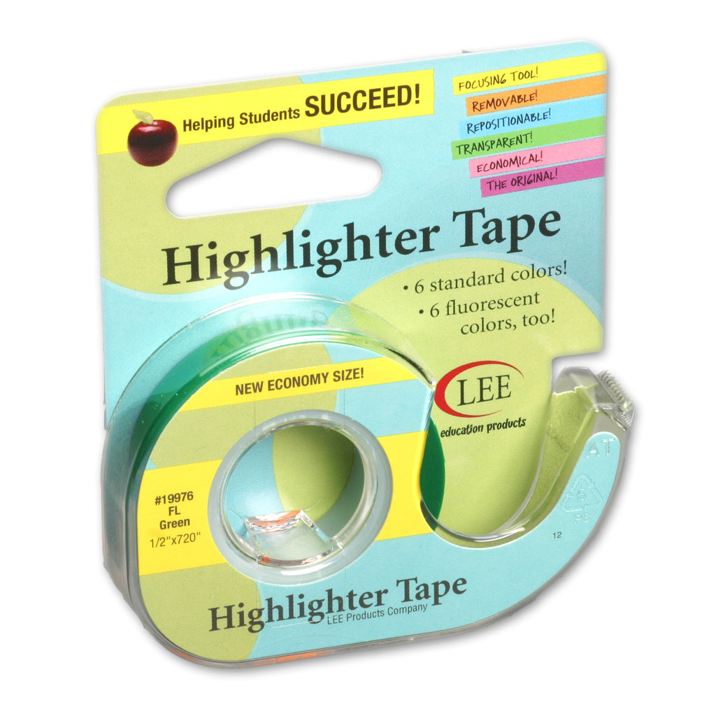 Lee Products Company Removable Highlighter Tape Fluorescent Green