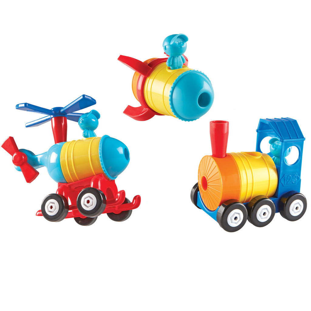 Learning Resources 1-2-3 Build It!™ Rocket-Train-Helicopter