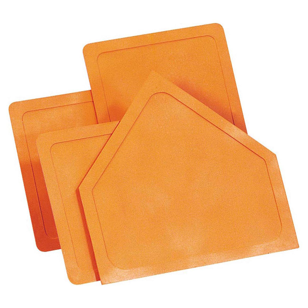 Dick Martin Sports Throw-Down Home Plate & 3 Bases Orange Rubber