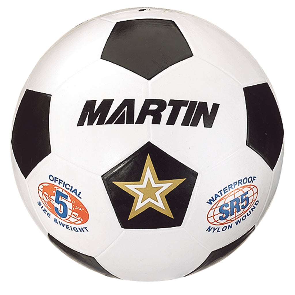 Dick Martin Sports Soccer Ball White Size 5 Rubber Nylon Wound
