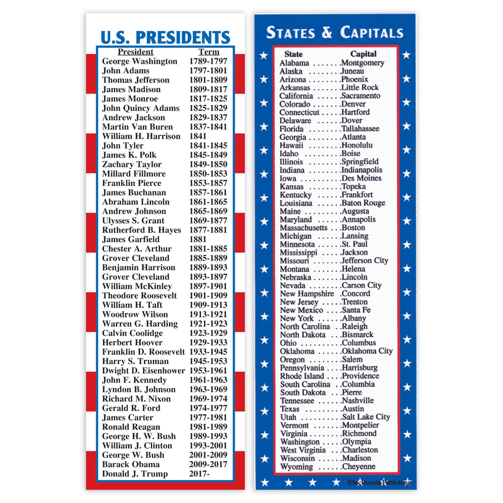 McDonald Publishing States & Capitals/Presidents Smart Bookmarks