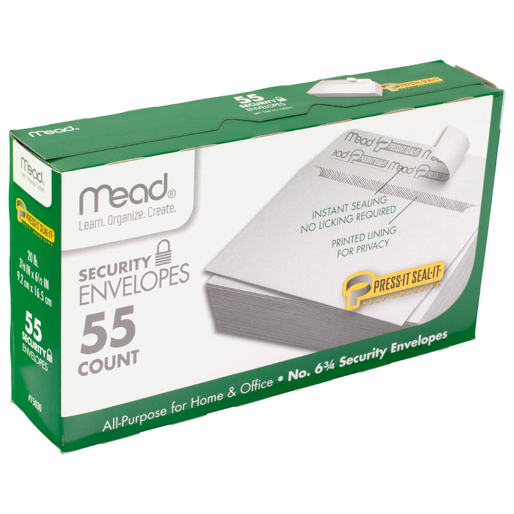 Mead Press It Seal It No. 6.75, 55 Count Security Envelopes