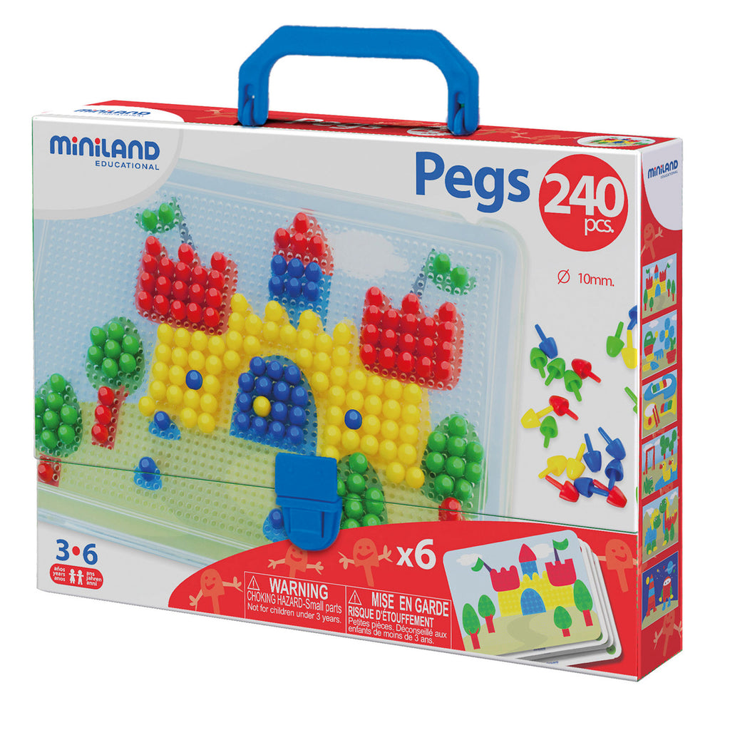 "Miniland Educational 3/8"" Pegs with Pegboard, 240 Pieces"