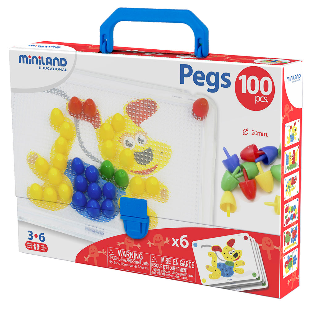 "Miniland Educational 3/4"" Pegs with Pegboard, 100 Pieces"