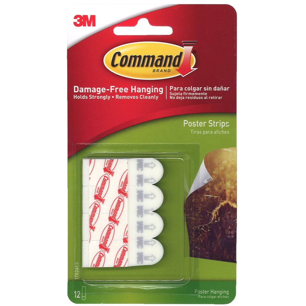 3M Command Poster Strips, 12 Pk
