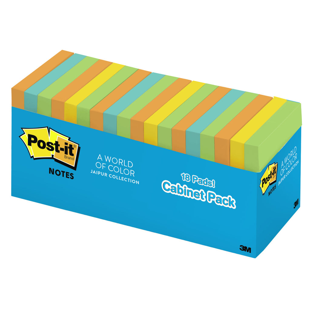 "3M 3"" x 3"" Post-It Notes In Cabinet Pack - Jaipur Collection, 18 Pads"