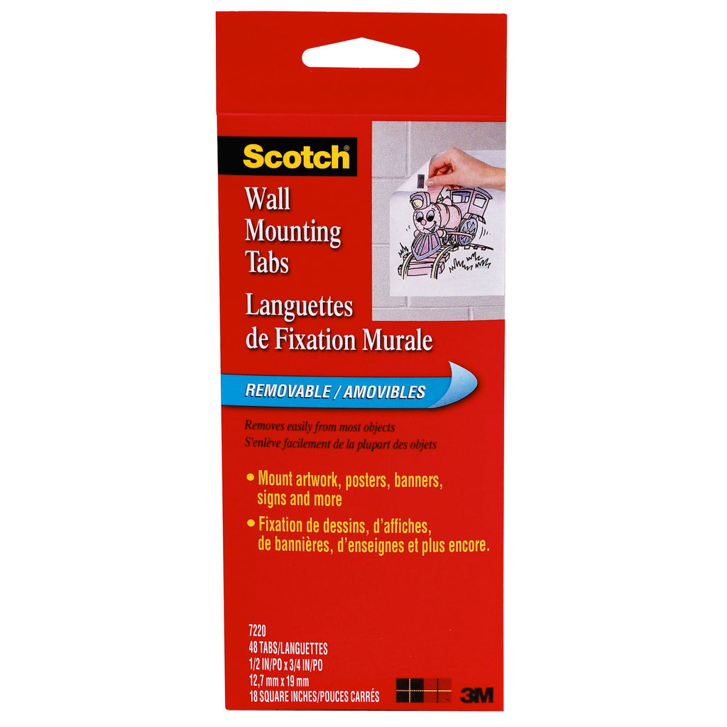 3M Wall Mounting Tabs-48 Pkg 1/2 x 3/4