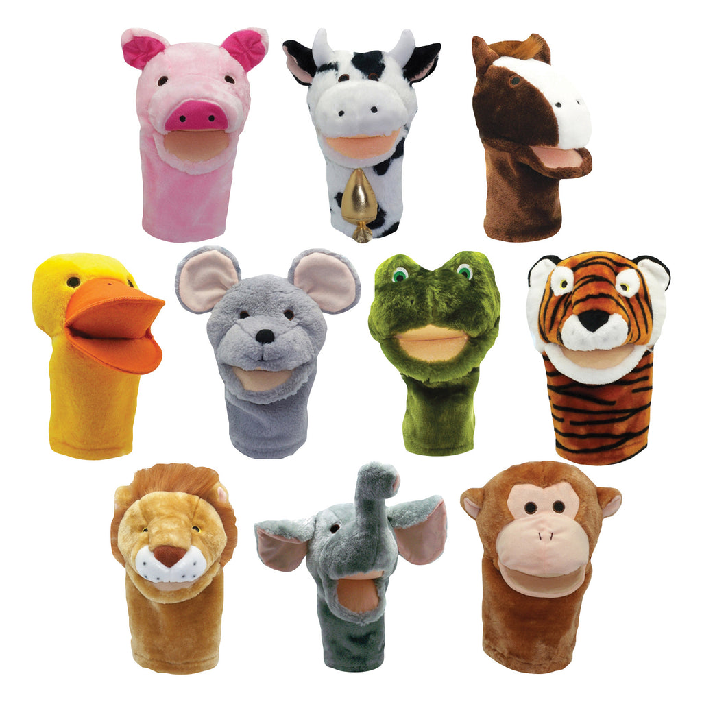 Get Ready Kids Plushpups Animal Hand Puppets, Set of 10