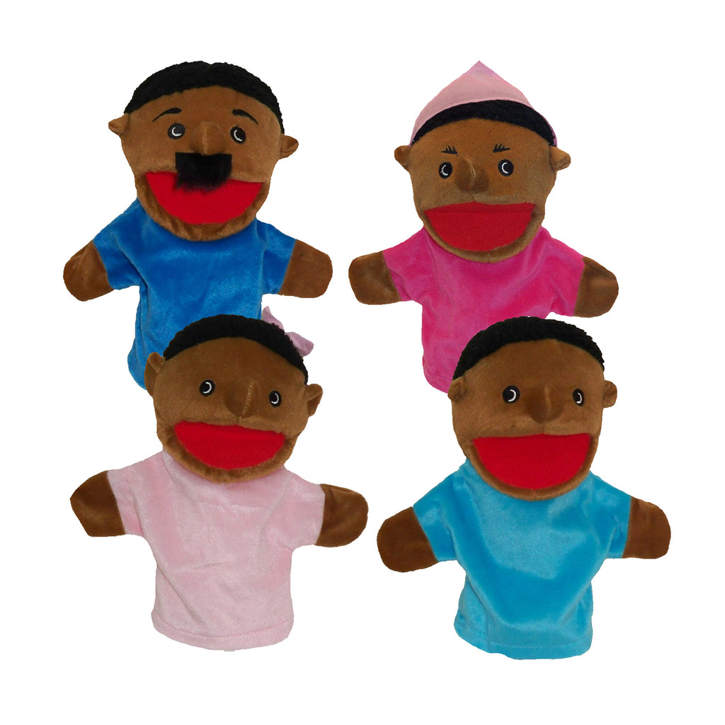 Get Ready Kids Family Bigmouth Puppets, African American Family of 4