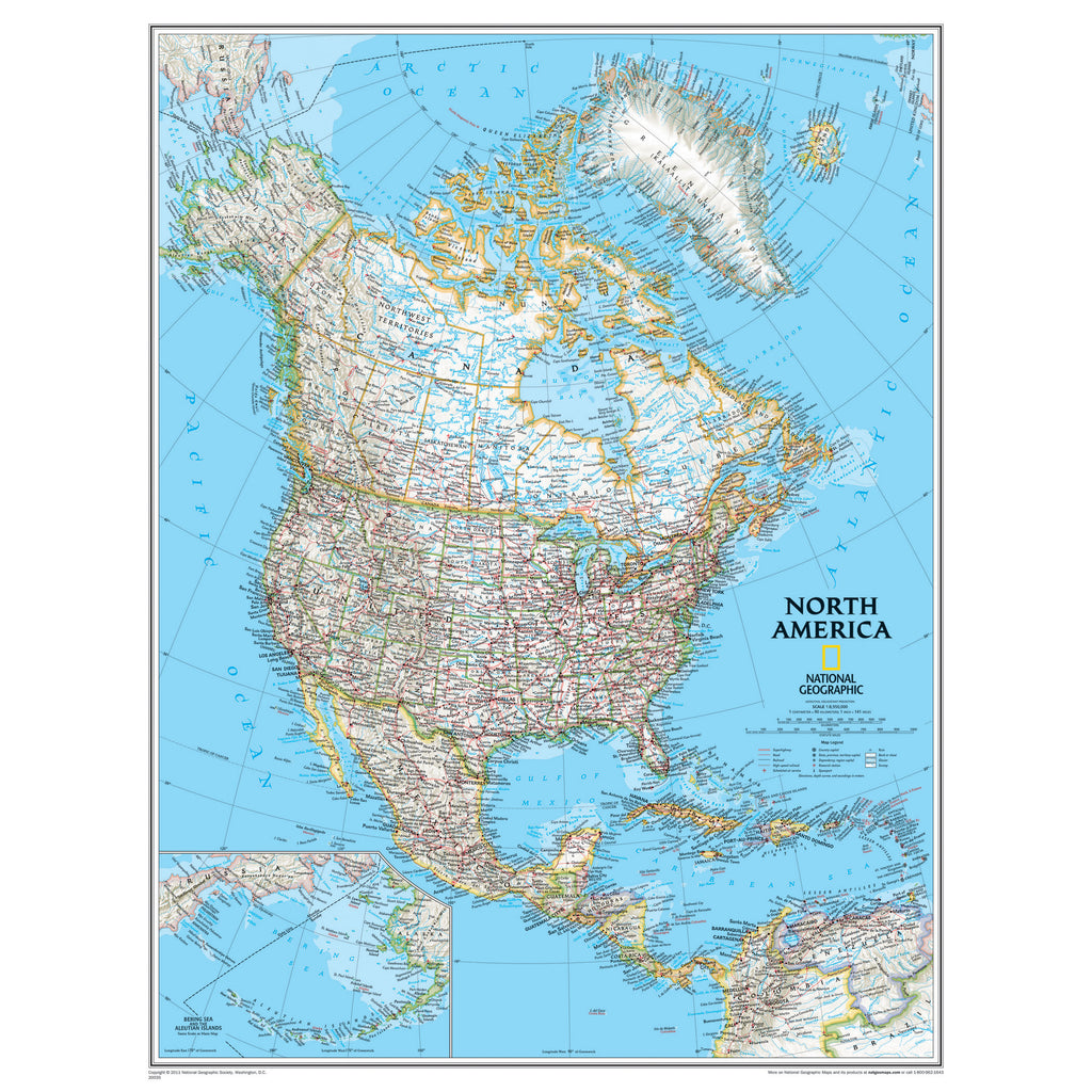 National Geographic Maps North America Wall Map 24 x 30