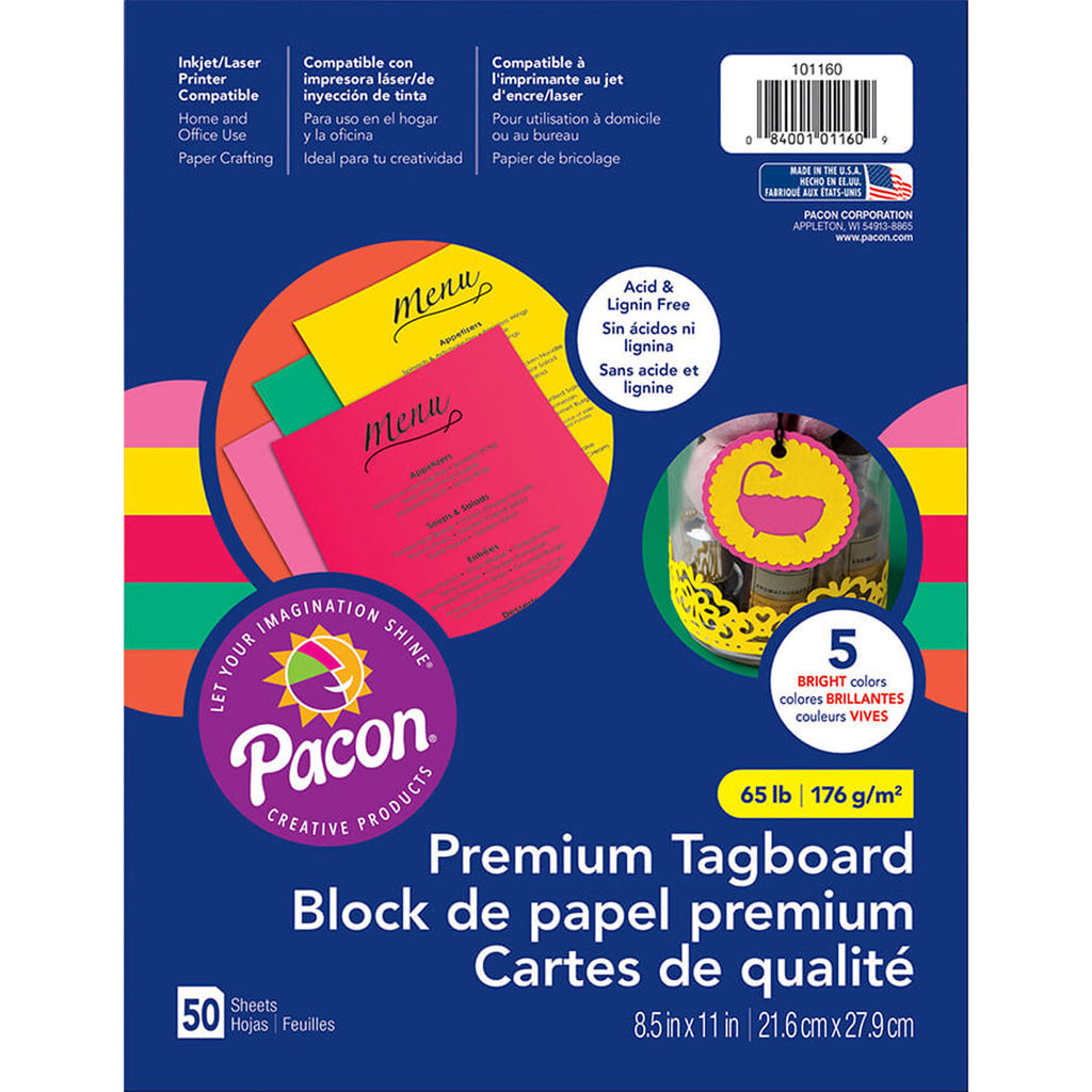 "Pacon Premium Tagboard Assortment, 8.5"" x 11"" Bright Colors (50 Sheets)"