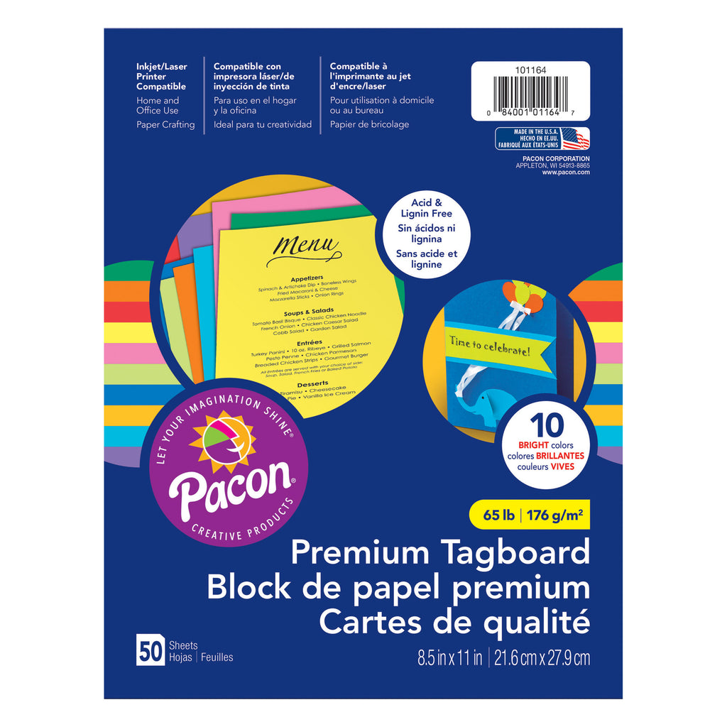 "Pacon Premium Tagboard Bright Color Assortment, 8.5"" x 11"" (50 Sheets)"
