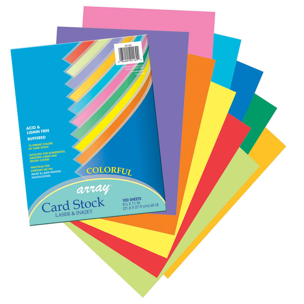 Pacon Array® Card Stock, 65#, Colorful Assortment, 100 Sheets