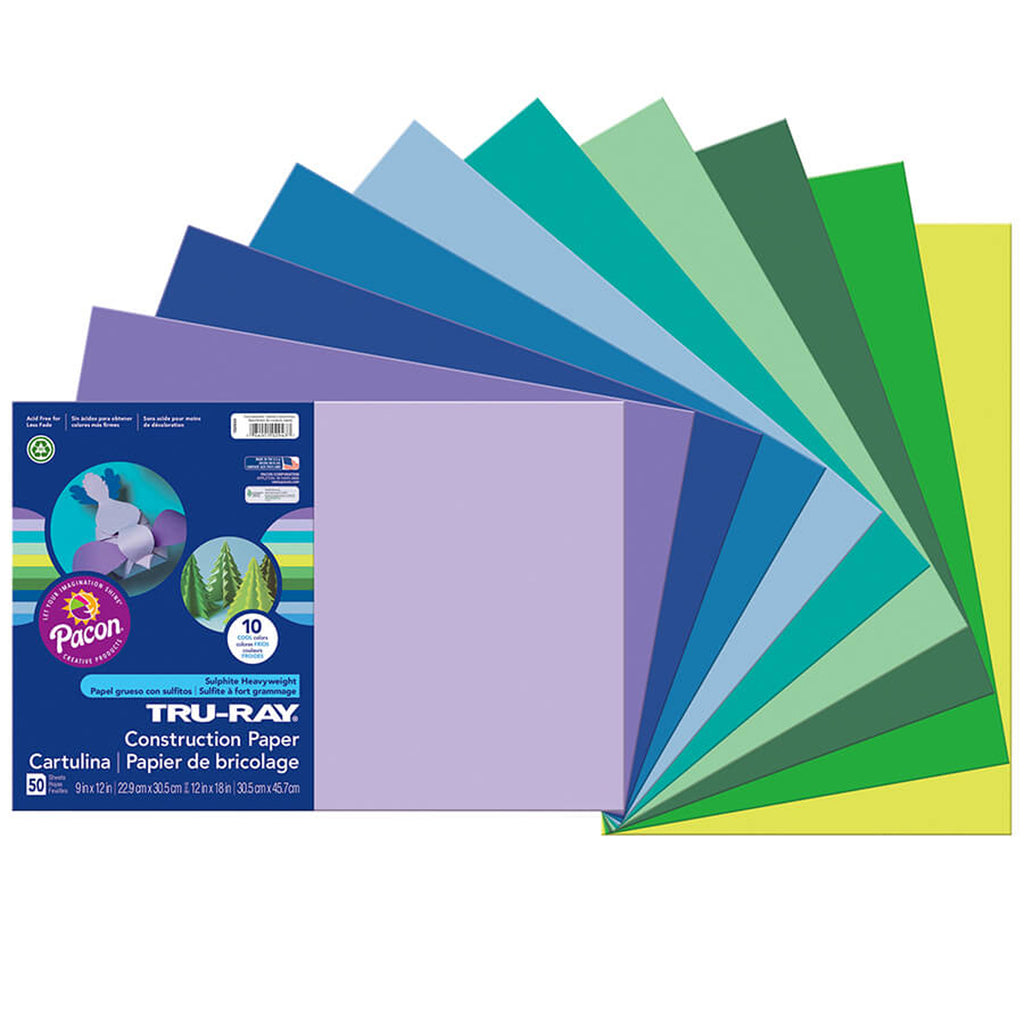 "Pacon Tru-Ray® Construction Paper, 12"" x 18"" Cool Assortment"