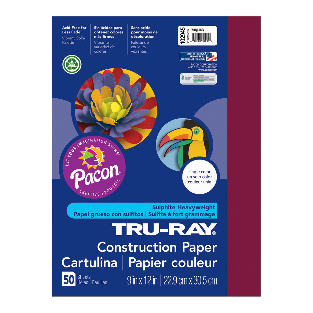 "Pacon Tru-Ray® Construction Paper, 9"" x 12"" Burgundy"