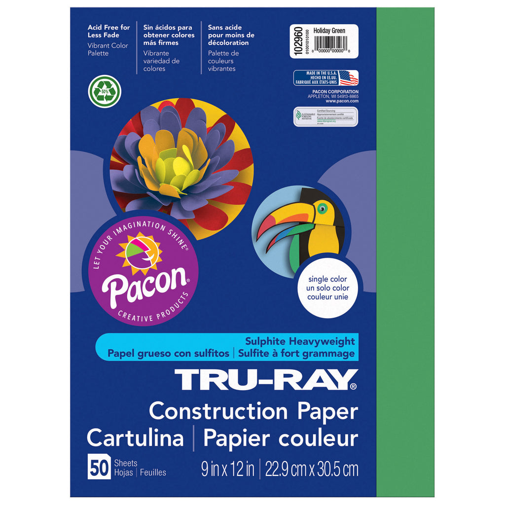 "Pacon Tru-Ray® Construction Paper, 9"" x 12"" Holiday Green"