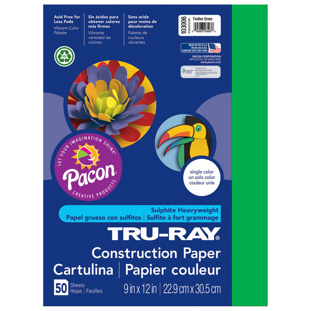 "Pacon Tru-Ray® Construction Paper, 9"" x 12"" Festive Green"