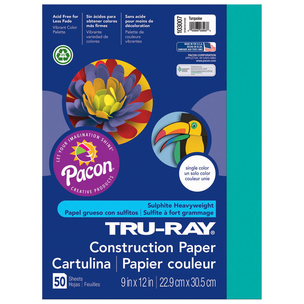 "Pacon Tru-Ray® Construction Paper, 9"" x 12"" Turquoise"