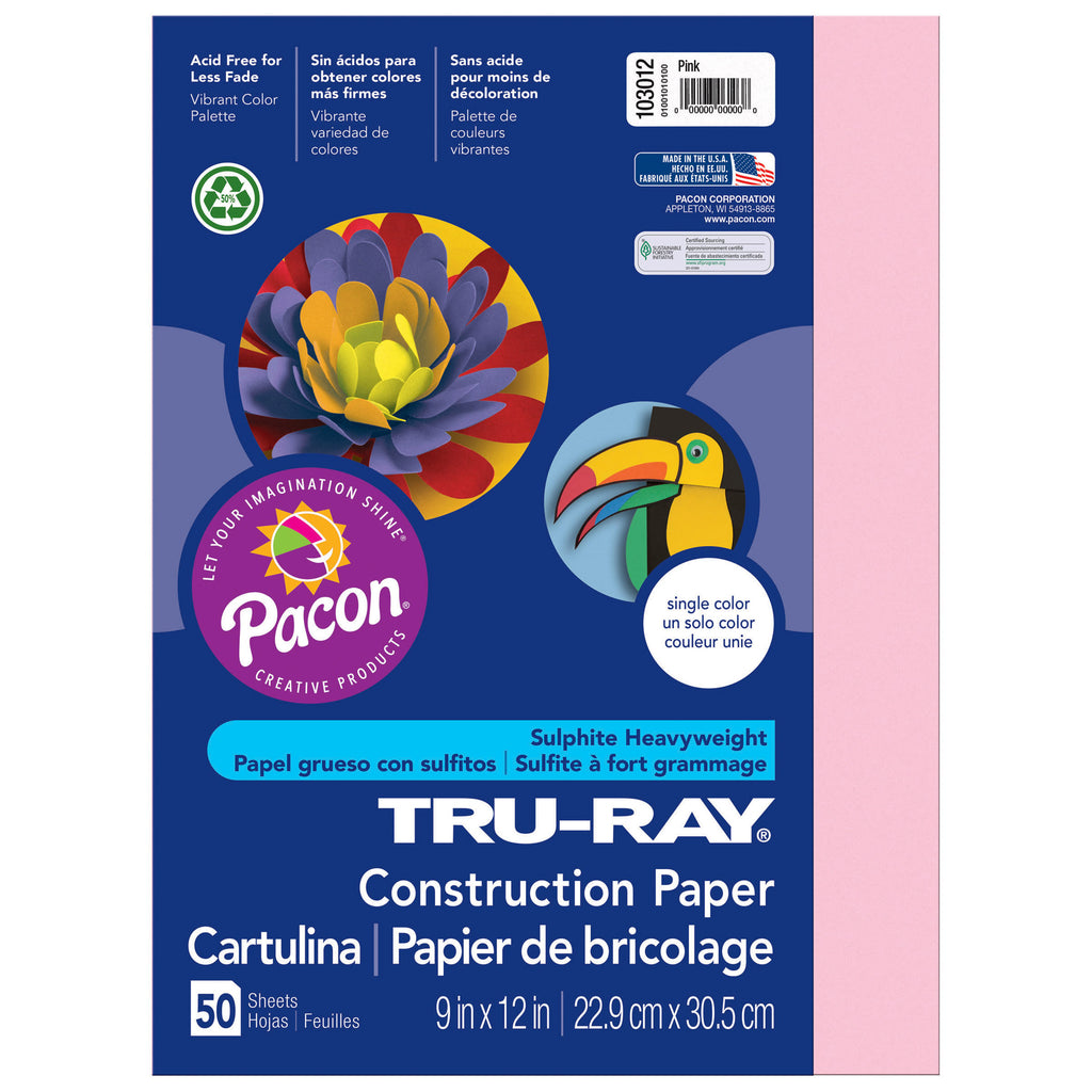 "Pacon Tru-Ray® Construction Paper, 9"" x 12"" Pink"