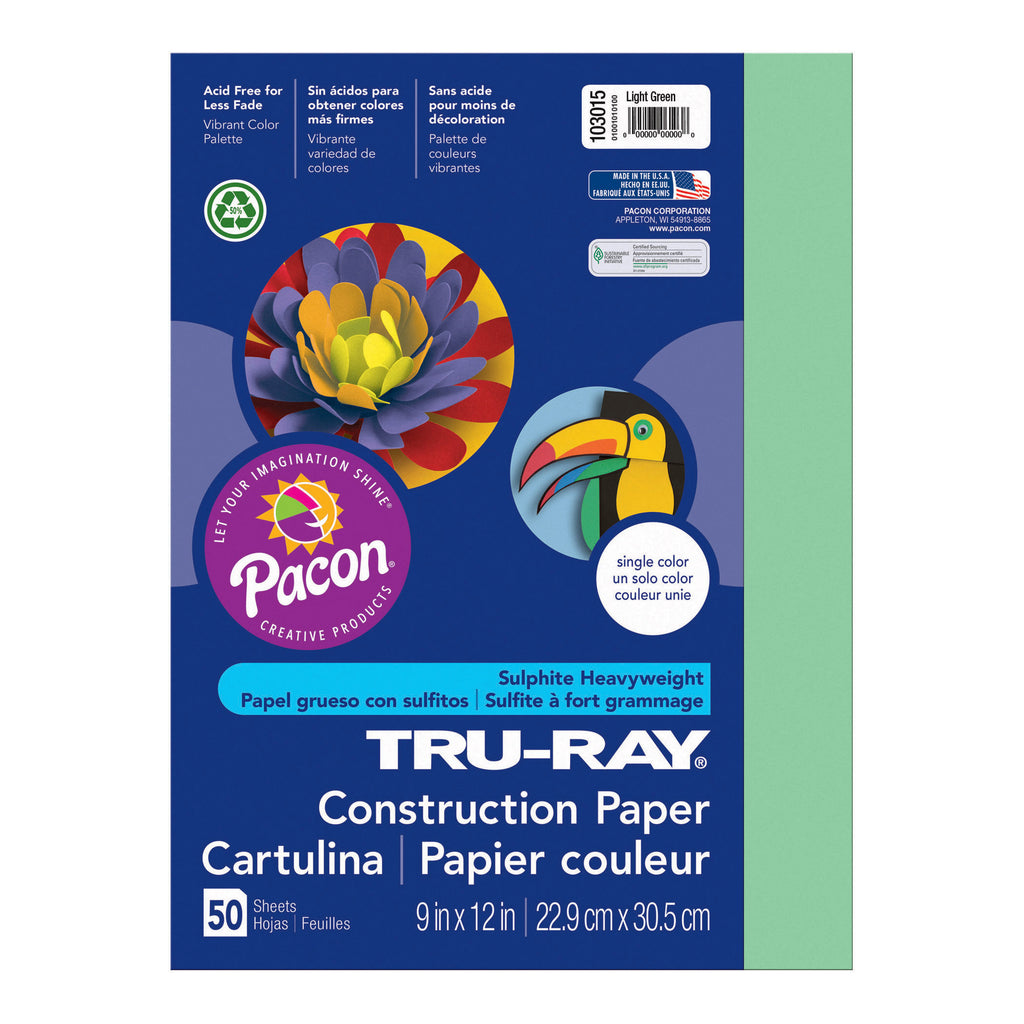 "Pacon Tru-Ray® Construction Paper, 9"" x 12"" Light Green"
