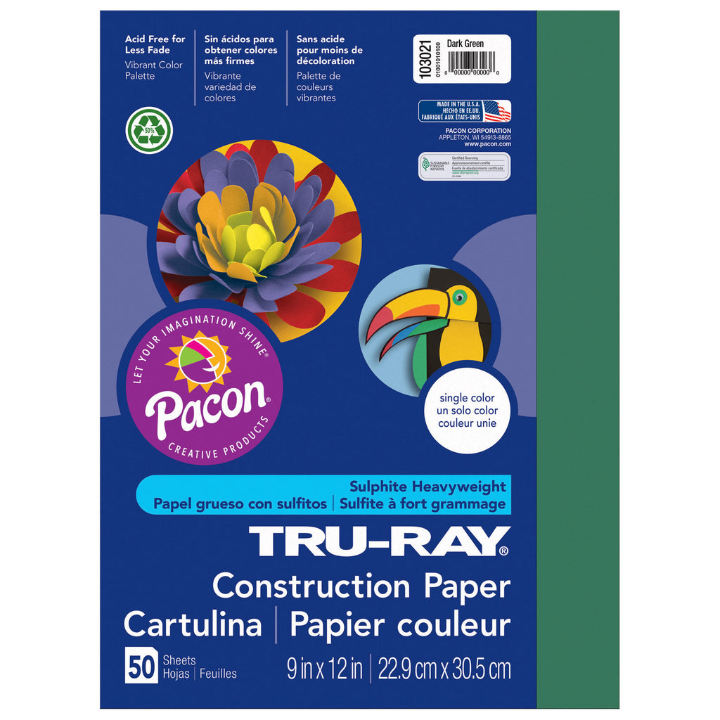 "Pacon Tru-Ray® Construction Paper, 9"" x 12"" Dark Green"