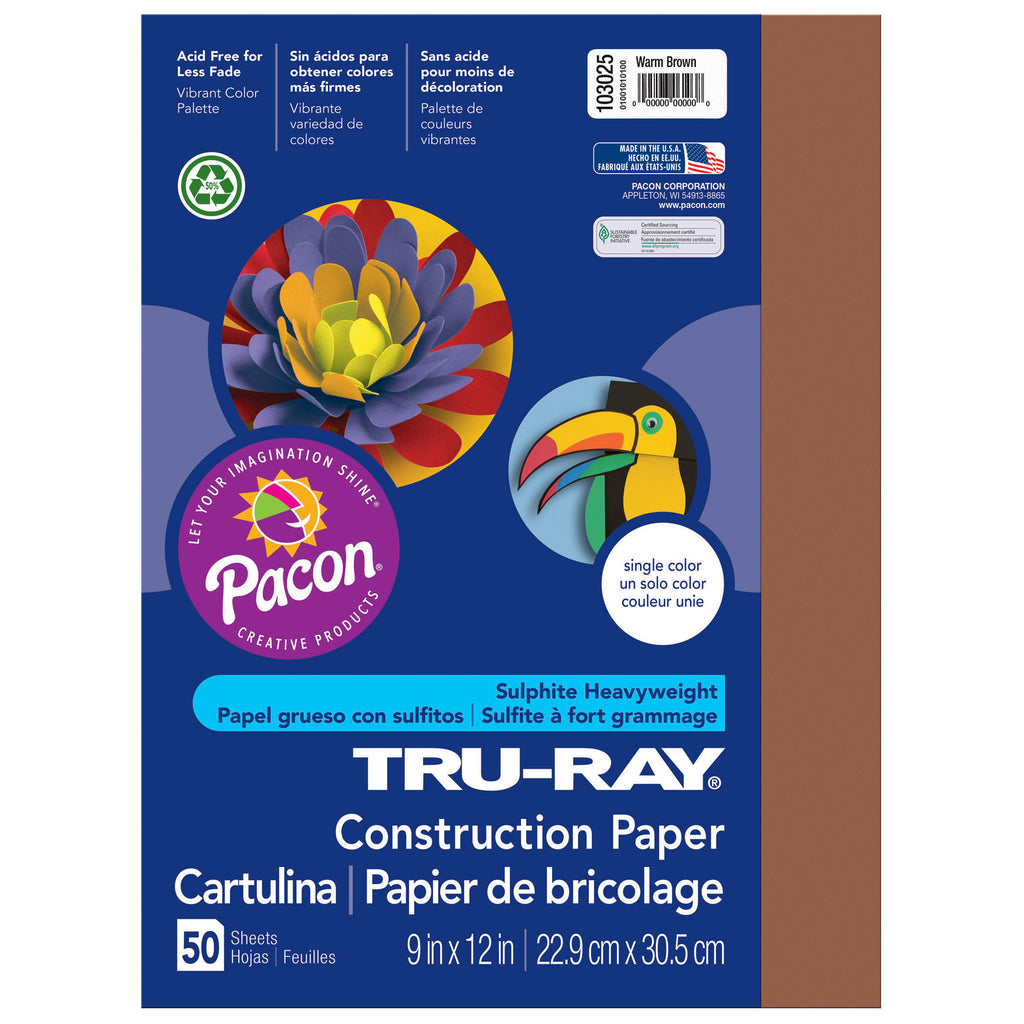 "Pacon Tru-Ray® Construction Paper, 9"" x 12"" Warm Brown"