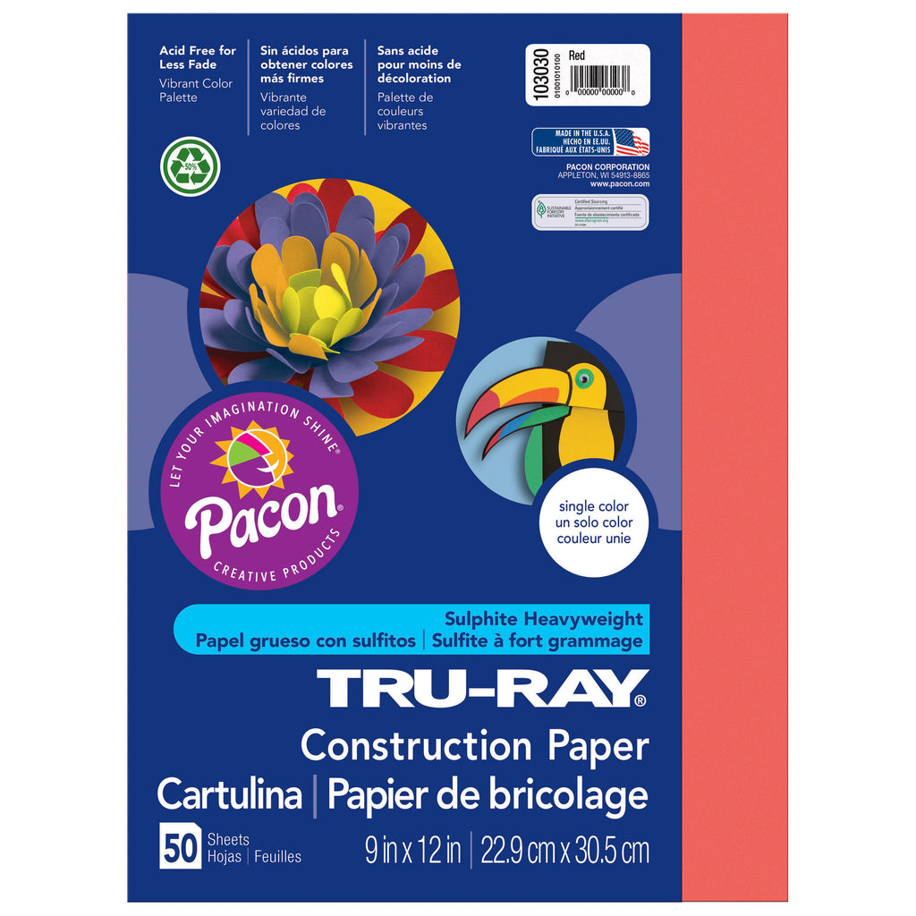 "Pacon Tru-Ray® Construction Paper, 9"" x 12"" Red"