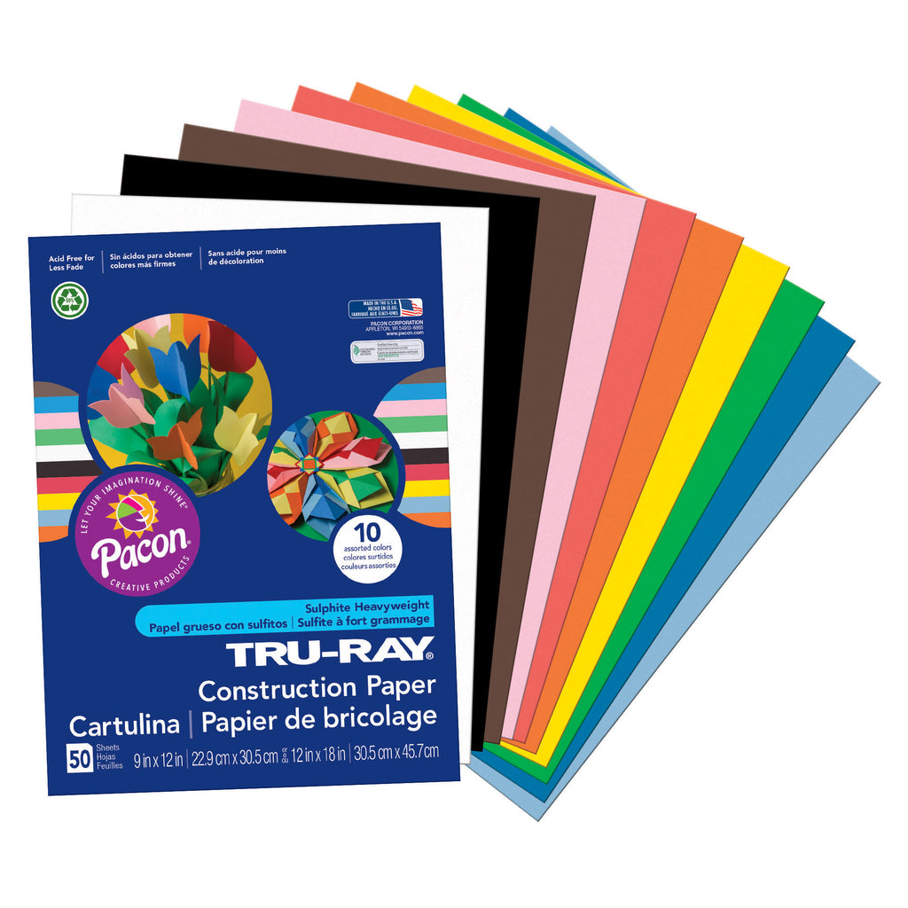 "Pacon Tru-Ray® Construction Paper, 9"" x 12"" Assorted"