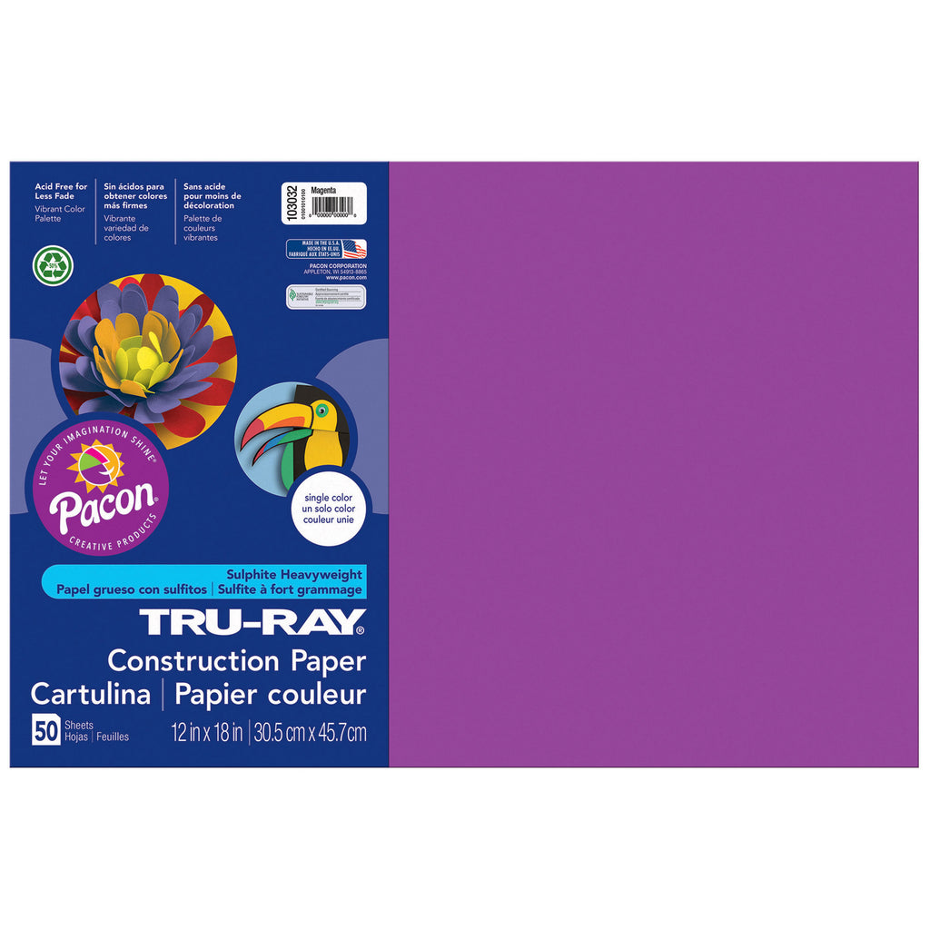 "Pacon Tru-Ray® Construction Paper, 12"" x 18"" Magenta"