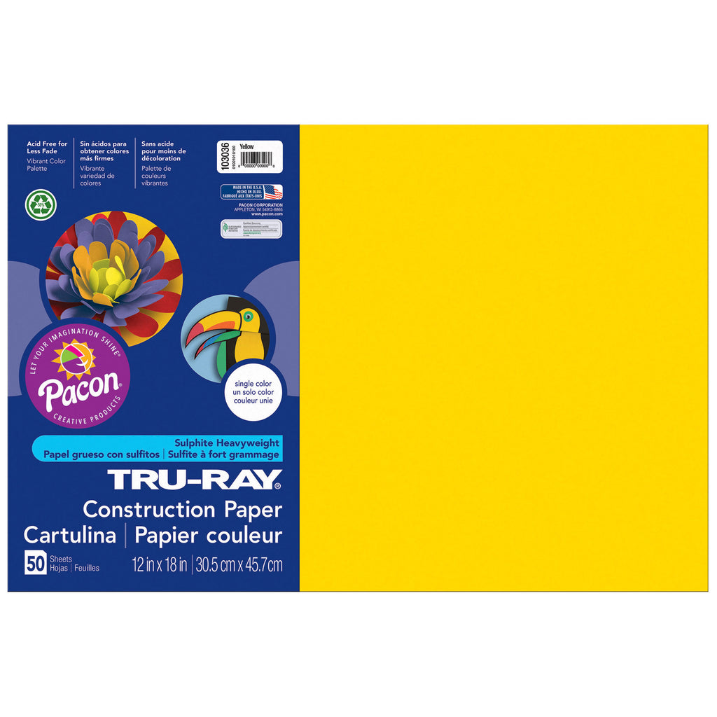 "Pacon Tru-Ray® Construction Paper, 12"" x 18"" Yellow"