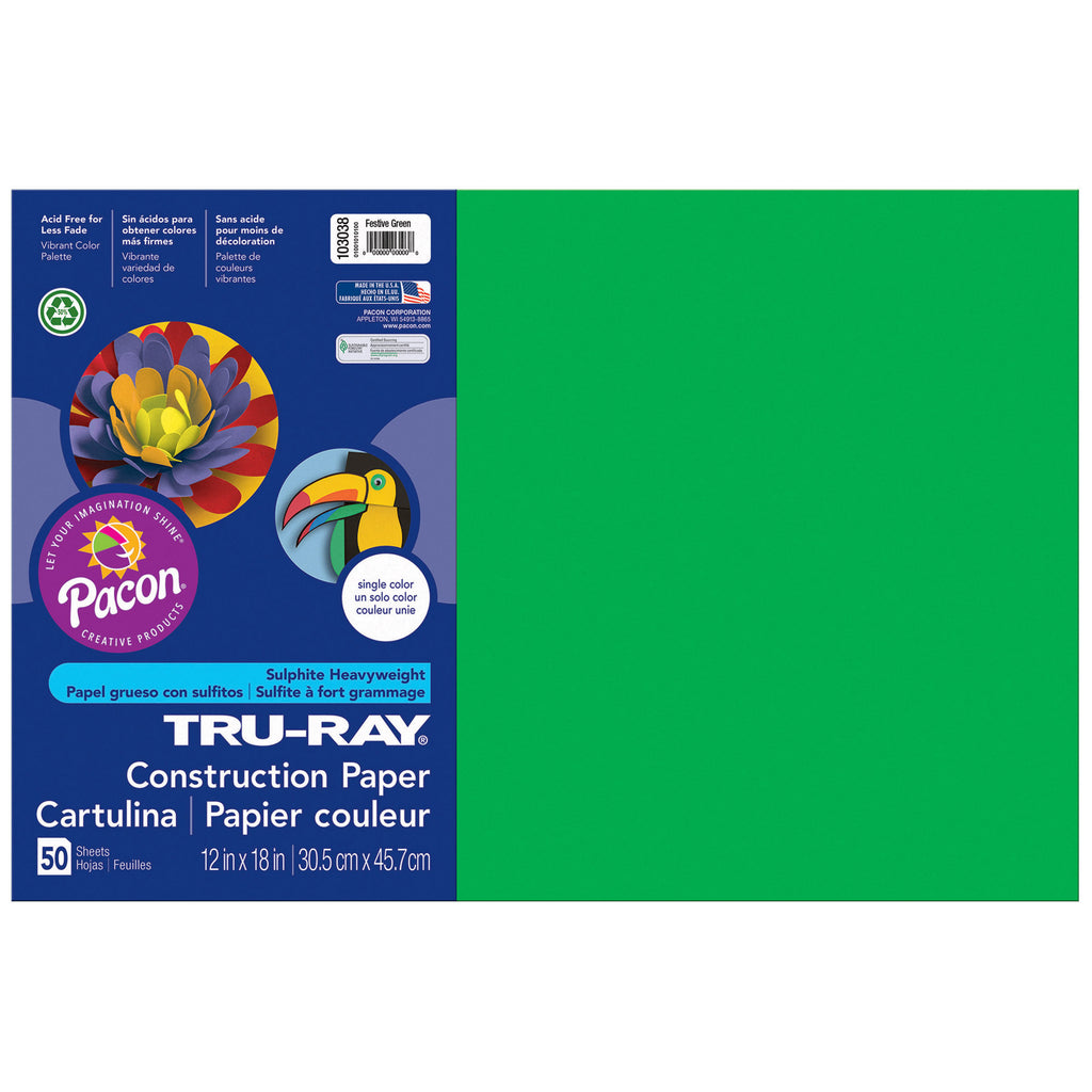 "Pacon Tru-Ray® Construction Paper, 12"" x 18"" Festive Green"