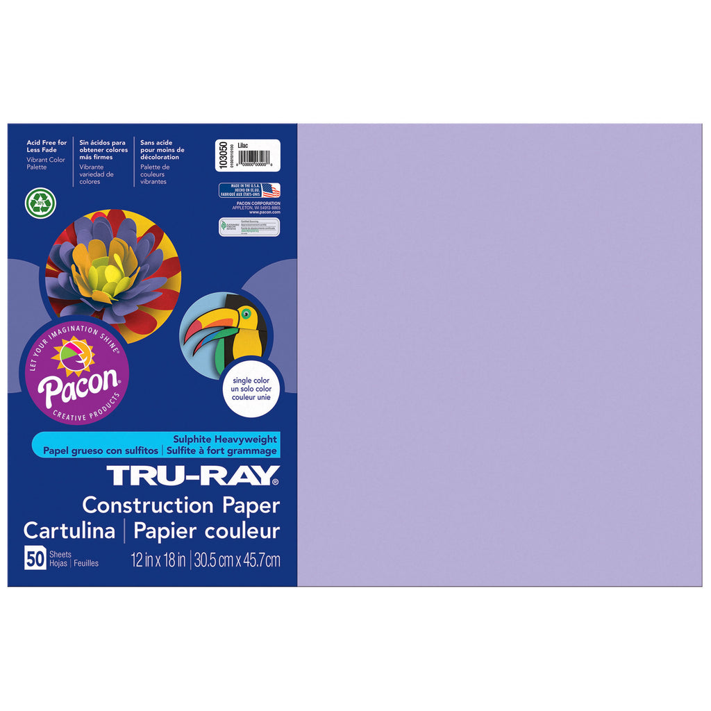 "Pacon Tru-Ray® Construction Paper, 12"" x 18"" Lilac"