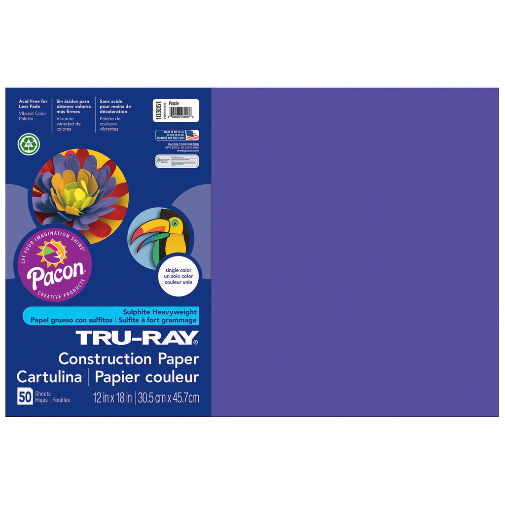 "Pacon Tru-Ray® Construction Paper, 12"" x 18"" Purple"