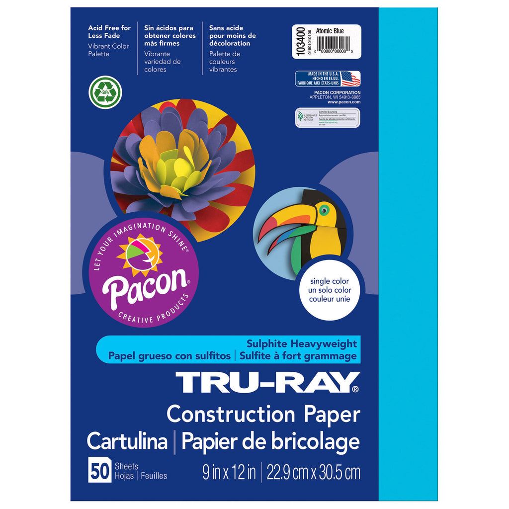 "Pacon Tru-Ray® Construction Paper, 9"" x 12"" Atomic Blue"