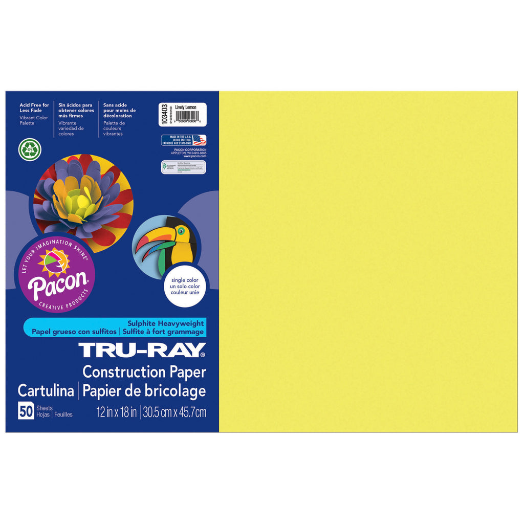 "Pacon Tru-Ray® Construction Paper, 12"" x 18"" Lively Lemon"