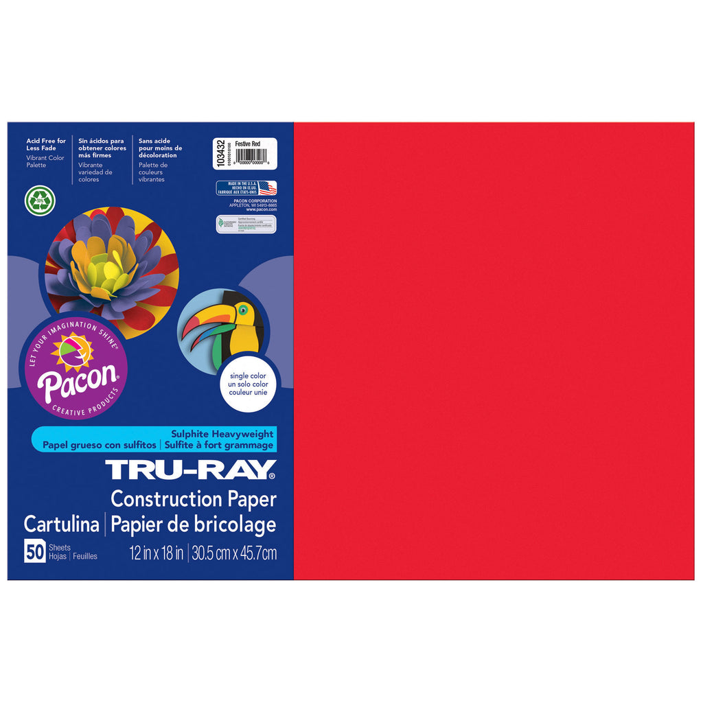 "Pacon Tru-Ray® Construction Paper, 12"" x 18"" Festive Red"